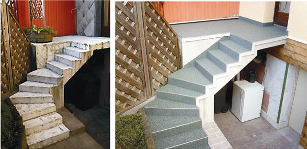 Treppe vor und nach der Renovierung